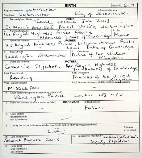 Birth Certificate - Prince George