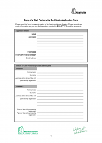 Civil Partnership Application Form