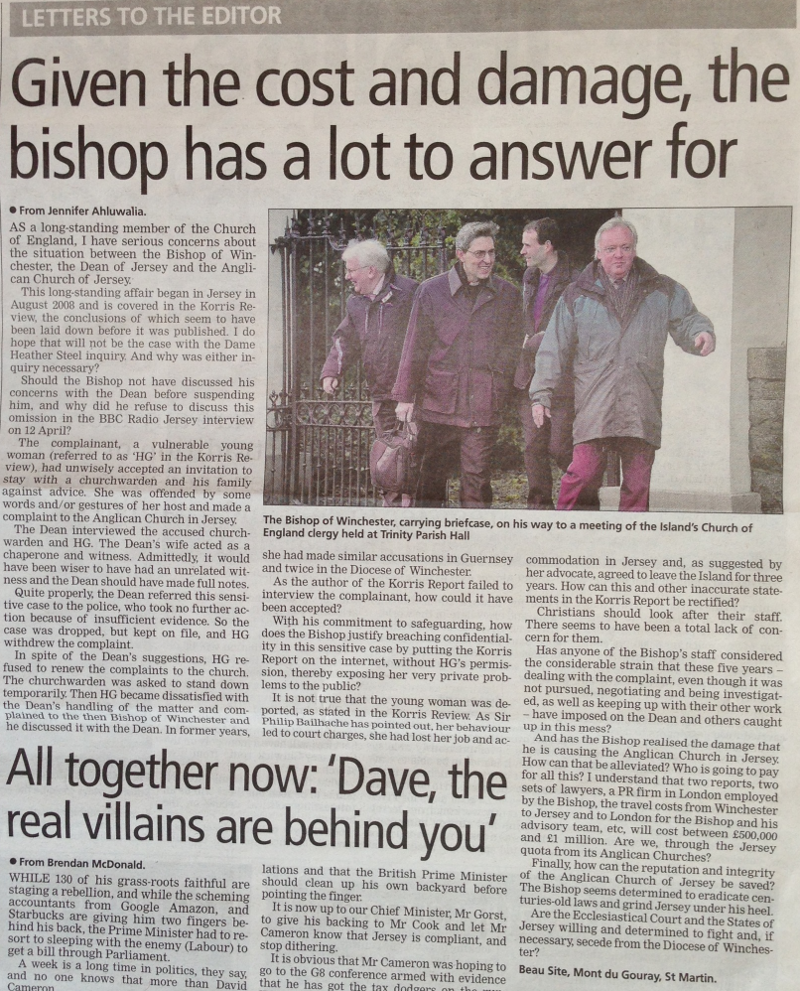 Letter in Jersey Evening Post, 24th May 2013